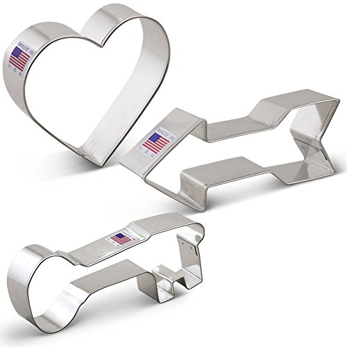 Valentine's Day Cookie Cutter Set - 3 piece - Heart, Arrow and (Arrow Heart)