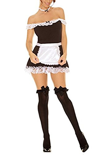 French Maid Costume Sexy 4 Pieces Dress Apron Head & Neck Pieces (Womens Sexy French Maid Costume)