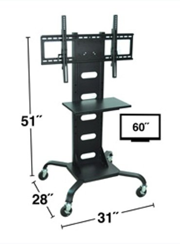 H WILSON WPSMS51 Mobile Panel TV Stand and Mount, Flat, Black (Bretford Mobile Equipment)
