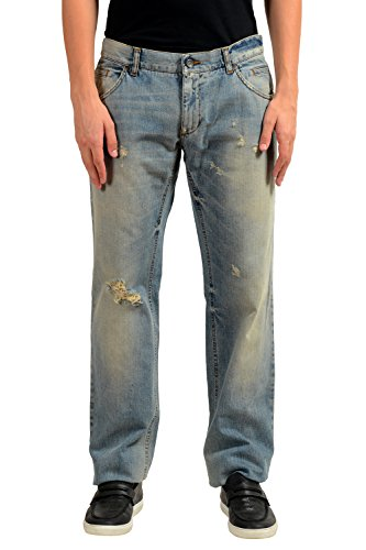 Dolce & Gabbana Men's Distressed Blue Straight Leg Jeans US 30 IT 46 - Dolce & Gabbana Straight Leg Jeans
