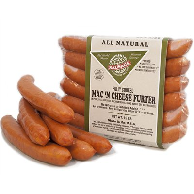 Mac & Cheese Frankfurter Sausage Frozen - 2oz links, 10# Case