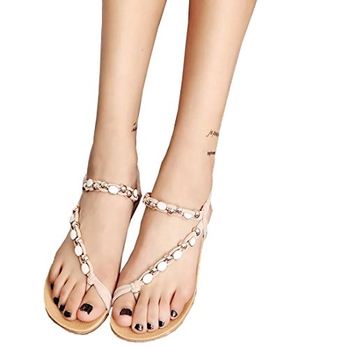 TOTOD Women Flat Shoes Beaded Bohemia Leisure Sandals Peep-Toe Flip Flops Shoes