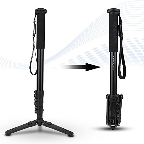 Camera Monopod, Portable Aluminium Alloy 360 Degree Rotation Folding Travel Tripod Stand Kit with Storge Bag Min Height 23 Inch to Max Height 48.87 Inch for Canon Nikon Sony Digital Cameras Camcorders by Yosoo
