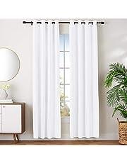 "AmazonBasics Room Darkening Blackout Window Curtains with Grommets - 52"" x 96"", White, 2 Panels"