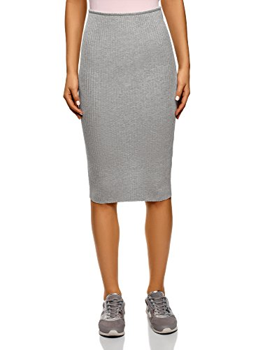 oodji Ultra Women's Ribbed Elastic Pencil Skirt, Grey, 8 ()