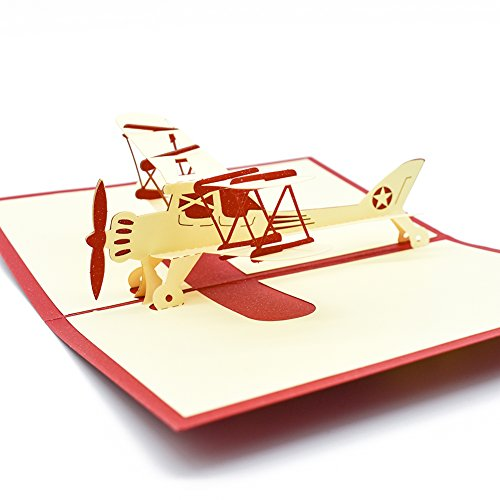 (Magic Ants 3D Airplane Model Greeting Pop Up Cards for Kids Child Birthday Graduation with Envelope & Envelope Seal Sticker - Handmade Laser Cut Aircraft Creative Gifts Card)