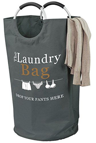 Drop Your Pants Here Laundry Hamper - Premium Quality Bag with Aluminium Handles, Large 81L - 15% Bigger Than Other Bags - Better than Commercial Grade and Ideal for College Dorms