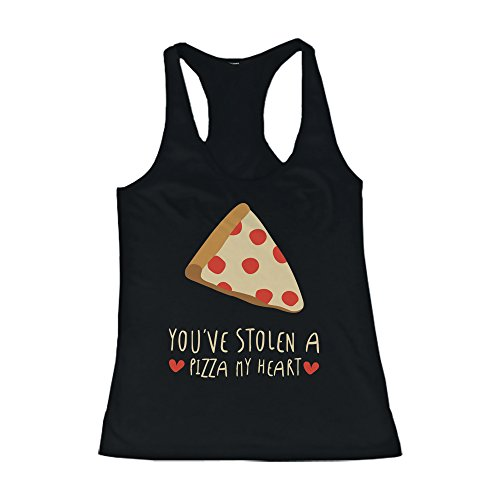 Women's Black Cotton Graphic Tank Top - You've Stolen a Pizza My Heart (Heart Pizza)