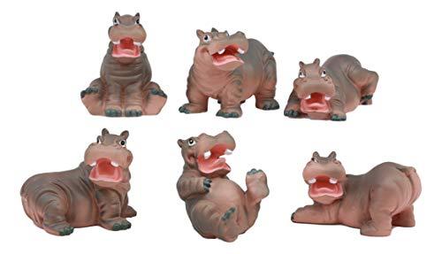 Ebros Whimsical Baby Hippo Set of 6 Hippopotamus Figurines 3