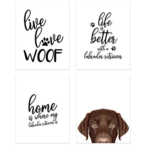 Summit Designs Labrador Retriever Wall Art Décor Prints – Set of 4 (8x10) Unframed Poster Photos – Dog Puppy Quotes