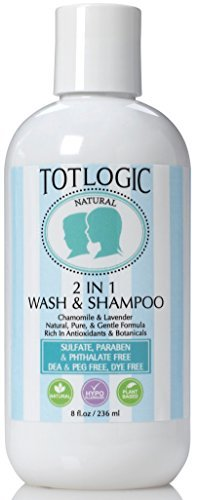 TotLogic Natural 2 in 1 Body Wash and Shampoo, 8 oz, No Sulfates or Parabens, No Phthalates, Pure Plant Based Non Toxic Formula - Infused with Essential Oils, Gentle & Hypoallergenic