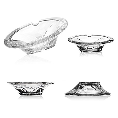 xdodocase Glass Ashtray Cigarette Crystal Collectible Ash Holder for Smokers, Desktop Smoking Ash Tray for Home Office Indoor Outdoor Decorative 4.7 (Collectible Ashtrays)