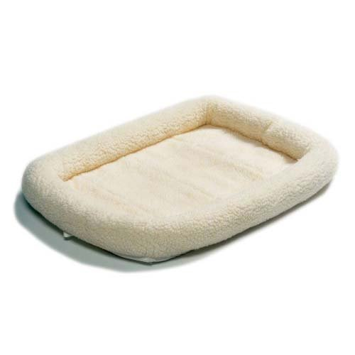 36L-Inch White Fleece Dog Bed or Cat Bed w/ Comfortable Bols