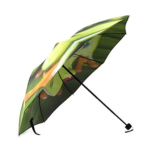 Cute Red Eyed Tree Frog Folding Rain Umbrella Parasol Windproof Travel Sun Umbrella Compact