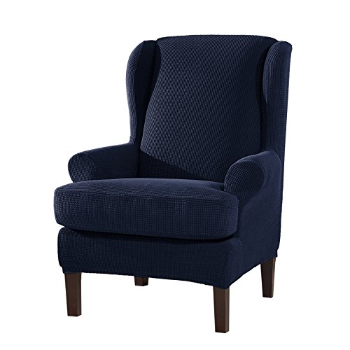 Wing Stripes Slipcover - Subrtex 2-Pieces Spandex Elastic Arm Wingback Cover Waffle Fabric Back Furniture Protector Stretch Sofa Slipcovers for Living Room(Wing Chair,Navy)