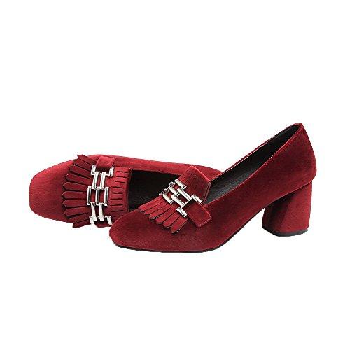 Vankka Neliön Pumput Pentu kantapäät Toe Pull kengät on Punainen Himmeä Naisten Odomolor qZxCUww