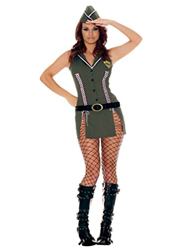 [Elegant Moments Womens Army Brat Military Outfit Fancy Dress Sexy Costume, M (6-10)] (Plus Size Fancy Dress Costumes Cheap)