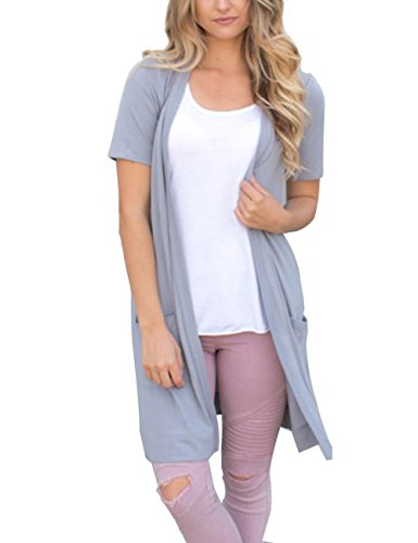 MEROKEETY Women's Open Front Solid Knitted Long Cardigan With Pocket (Cardigan Long Short Sleeve)