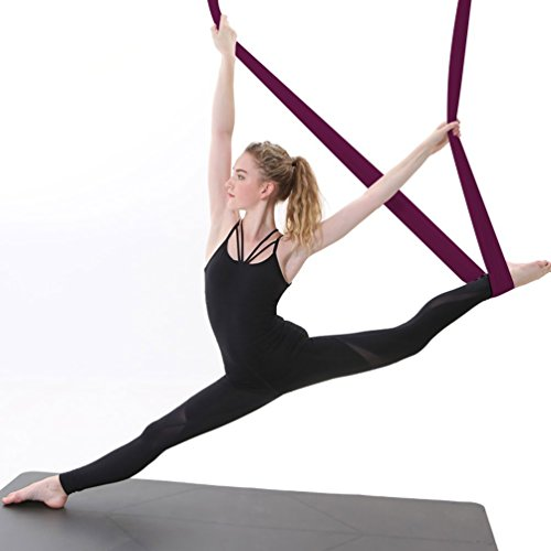 Ranbo Yoga Inversion Swing Anti Gravity Aerial Trapeze Flying Hammock Sling Relieves Back Pains, Improves your Strength, Balance, Flexibility and Endurance