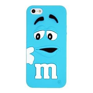 Azul M&M Chocolate La funda de silicona suave cubierta protectora para Apple iPhone 5 5s 5G 5th Generation with CableCenter Cable Tie