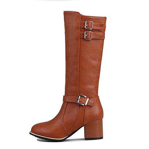AllhqFashion Womens PU Mid-Top Solid Zipper Kitten-Heels Boots Brown o9SwnVz