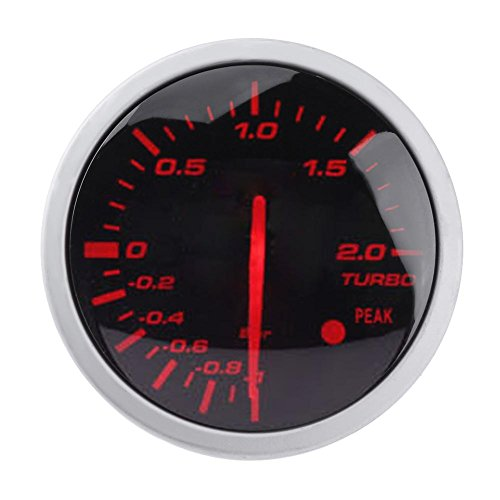60mm 2.5in Racing Car Turbo Boost Gauge White+ Red Light Meter with - 60 Electronic Meter Mm