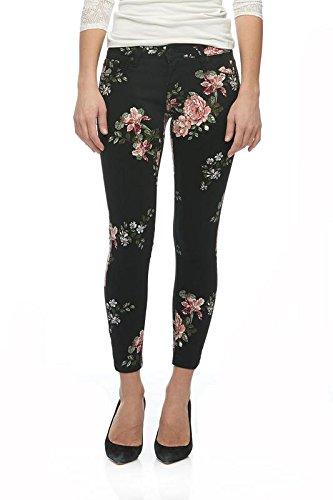 Denim Floral Jeans - Suko Jeans Women's Ankle Skinny Power Stretch Denim Jean 18094SW Black Rose 4