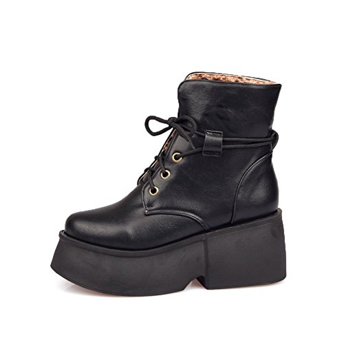 1TO9 Ladies Color Matching Thick Bottom Heel Platform Bandage Imitated Leather Boots Black 23di5i