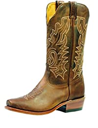 Boulet Western Boots Womens Cowboy Leather Selvaggio Wood 3166