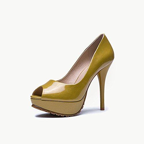 Poco Tamaño Zapatos uk3 con Eu36 Profunda Feifei Pink Altos Verano Impermeable Sandalias Amarillo 11cm Alto Plataforma Tacones Pu Pescado De Boca Mujer color Moda cn35 Material 5 1vafq