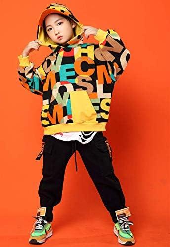 Patypeetyキッズ ダンス 衣装 ヒップホップ 子供服 男の子 女の子 ダンスウェア かっこいい 男女兼用 HIPHOP ジャズダンス ジュニア お揃い 応援団 練習着 派手 野球 運動着 ステージ衣装 発表会 演出服 チアガール 衣装 (トップス+パンツ,180)