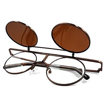 SamuRita Bold Flip Up Small Round Steampunk Sunglasses Polarized Favor Shades
