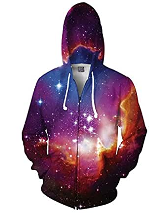 Amazon.com: ISWAG Space Galaxy Zip-up Hoodie Nebula ...