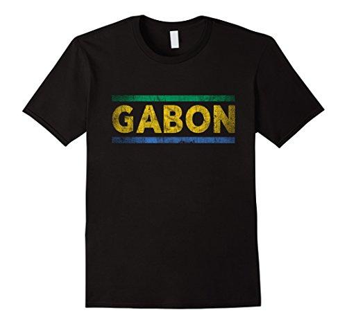 Mens Gabon Retro Flag T-Shirt Gabonese Distressed Graphic 2XL Black