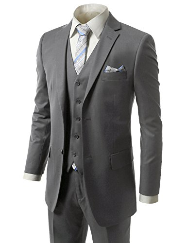 MONDAYSUIT Men RegularFit Striped 3Piece Suit Blazer Tuxedo Vest Trouser-44R 38W by MONDAYSUIT