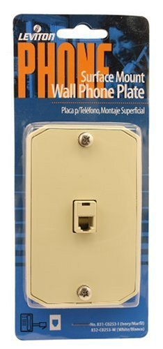 Leviton C0253-I Surface Mount Wall Phone Jack, 6-position, 4-conductor, ivory -