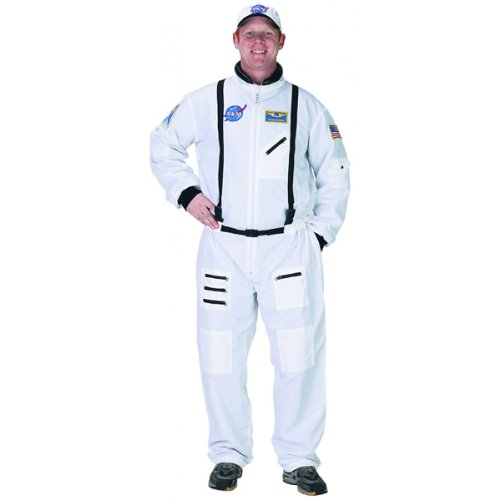 Aeromax Adult Astronaut Suit with Embroidered Cap, White, Small