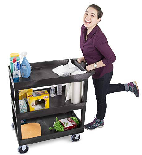 Original Tubstr Heavy Duty 32 x 18 inches - Shelf Utility Cart/Service Cart - Holds 500 Pounds - High Capacity - Tub Carts & Deep Shelves - Great for Warehouse, Cleaning, More! (3 Shelf - Black)