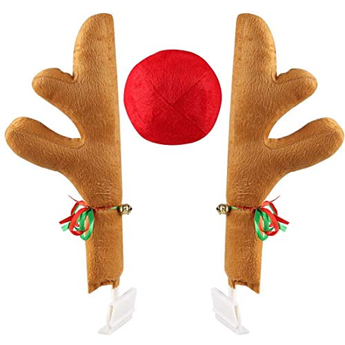 Christmas Car Antlers, Reindeer Antlers with Plush Reindeer Nose for Car Grille, Reindeer Ears Car Costume for Christmas - Full Set with 2 Antlers and 1 Reindeer Nose (Khaki)]()