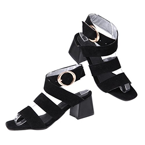SJJH Roman Sandals with Chunky Heel and Open Toe Fashion Sandal Shoes for Travel Leisure Women Snadals Black 07vCQmeHf