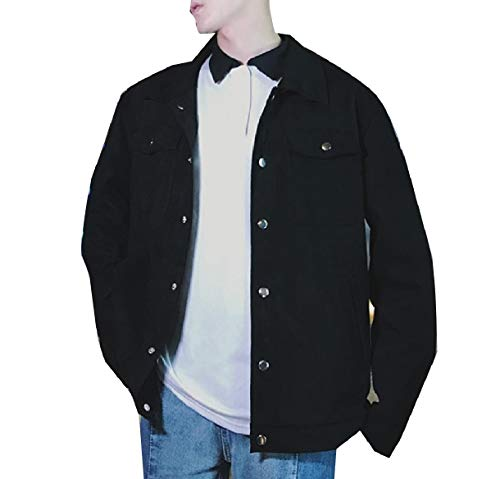 Warm Embroidery Buckle Men Suede Winter Fall Coat Jacket Black Faux Howme pH5wXqTq