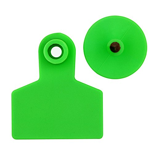 Livestock Identification Blank Ear Tags for Goats Sheep Cattle Cows Pigs 100 Packs TPU Precision Ear Tags (pig, green) (Ear Sheep Tags)