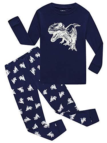 Dinosaur Big Boys Long Sleeve Glow in The Dark Pajamas Sets 100% Cotton Pyjamas Kids Pjs Size 12 Blue -
