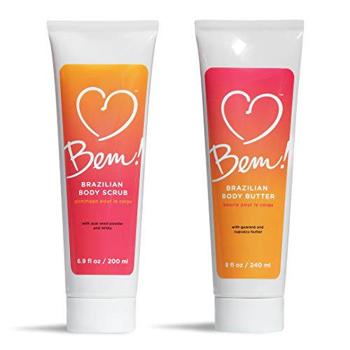 Bem! Brazilian Body Scrub & Body Butter Natural Gift Set for Dry Skin with Coconut and Shea Butter