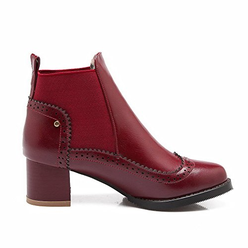 AgooLar Women's Pull-On Round Closed Toe Kitten-Heels PU Ankle-high Boots Claret t26Op