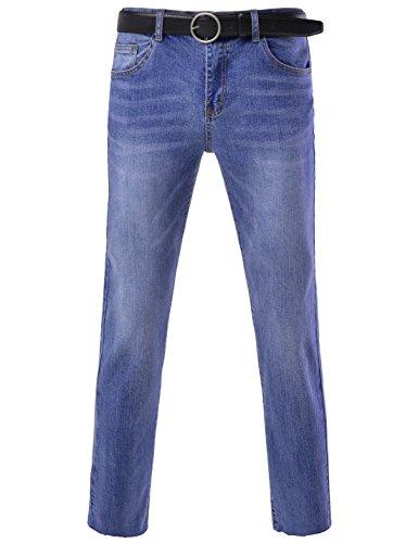 DETYLISH (DSLJ01 Mens Slim Fit Basic Denim Pants Washing Stylish Belt Set Jeans Blue 27W/25L(Tag Size S)