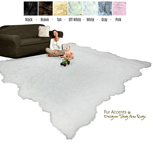Price comparison product image Large Shag Area Rug - Random Edge - Faux Fur Sheepskin - Room Size Carpet - Soft Shaggy Plush Designer Accent - Fur Accents (8'x10', Off White)
