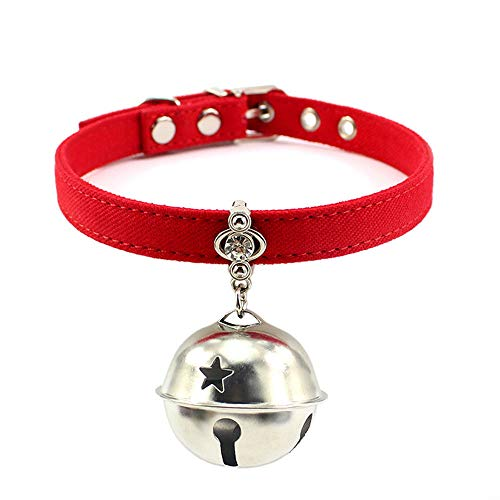 """Benala Exquisite Dog Cat Collar, Soft and Comfortable Cloth Leather,Adjustable Rhinestone Dog Collar with Big Bell,Red,XS:(Neck 6.7-8.7"""")"""