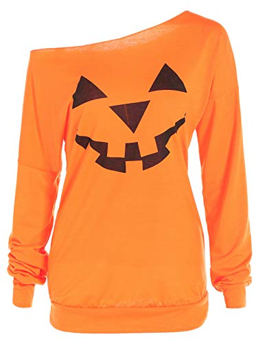 Off The Shoulder Sweatshirt for Women Pullover Halloween Costume Wide Neck Pumpkin Face Slouchy Party Clothing Wear Shirt Top Holidays Jacket Spring and Autumn Orange L (Holiday Womens Jacket)