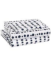 Amazon Basics Kid's Sheet Set - Soft, Easy-Wash Microfiber - Twin, Blue Dotted Stripes